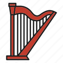 entertainment, harp, music, musical, rhythm, song, stringed instrument icon