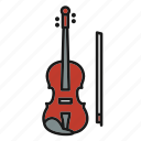 entertainment, music, musical, rhythm, song, string music instrument, violin icon