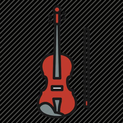 entertainment, music, musical, rhythm, song, string music instrument, violin icon
