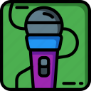 instruments, mic, microphone, music, recording, rock, sing icon