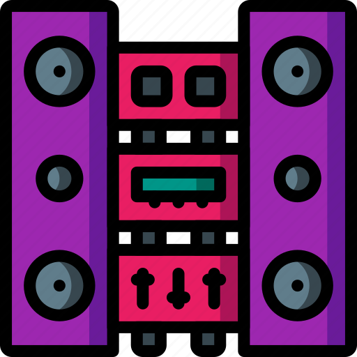 fi, hi, media, music, player, stack, stereo icon