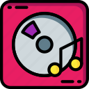 cd, instruments, media, music, player icon