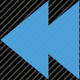 back, previous, reverse, rewind icon