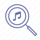 collection, magnifier, music, music search, note, player, search icon