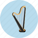 audio, harp, instrument, music, sound icon