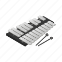 instrument, isometric, music, musical, sound, toy, xylophone icon