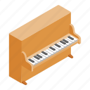 classical, grand, instrument, isometric, music, piano, sound icon