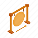 asian, brass, gong, instrument, isometric, musical, sound icon