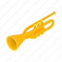 brass, instrument, isometric, music, musical, sound, trumpet icon