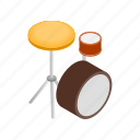 cymbal, drum, isometric, kit, music, musical, percussion icon
