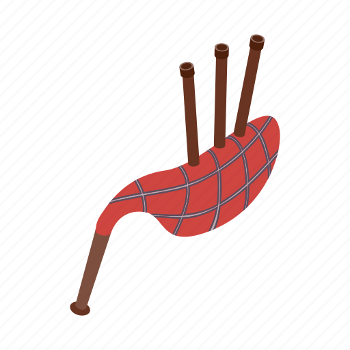 bagpipe, celtic, folklore, instrument, isometric, scotland, scottish icon