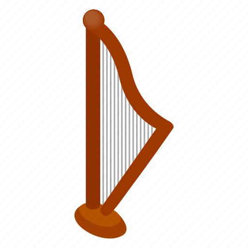 classic, harp, instrument, isometric, music, musical, string icon