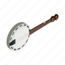 banjo, country, folk, isometric, music, skin, sound icon