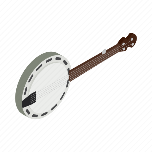banjo, country, folk, isometric, music, skin, sound icon