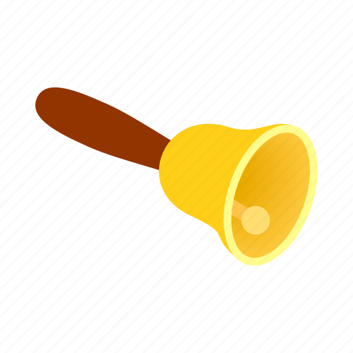 bell, gold, handle, isometric, metal, ring, traditional icon