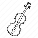 cello, classical, instrument, line, music, outline, violin icon