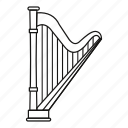 harp, instrument, line, music, musical, outline, string icon