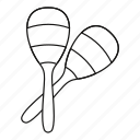 instrument, line, maraca, music, musical, outline, percussion icon