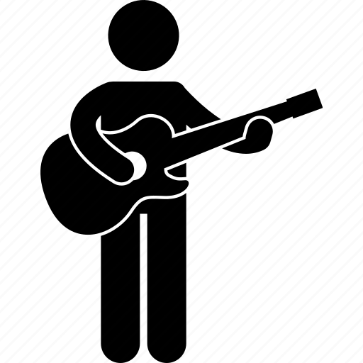 guitar, guitarist, man, musician, person, standing, strumming icon
