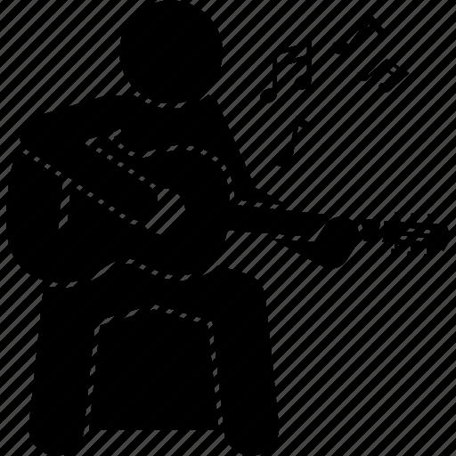 guitar, man, musician, playing icon