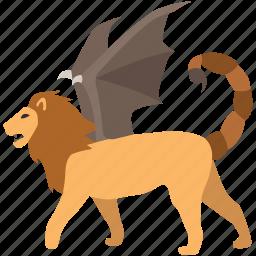 beast, fantasy, legend, manticore, monster, mythology, persian icon