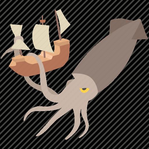 giant, kraken, leviathan, monster, myth, sea, squid icon