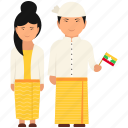 cultural dress, myanmar clothing, myanmar couple, myanmar cultural dress, myanmar dress, myanmar outfit icon