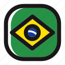 brazil, brazilian, country, flag, nation, national, world icon