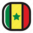 button, country, flag, nation, national, senegal, square icon