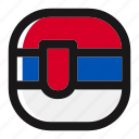button, country, flag, nation, national, serbia, square icon
