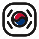country, flag, korea, nation, national, south korea, square icon