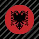 albania, circle, flag, world icon