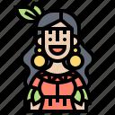 american, beauty, costume, native, woman icon