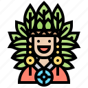 chief, feather, headdress, leader, tribal icon