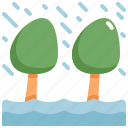 climate change, disaster, flood, natural disaster, nature, rain, tree icon