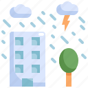building, climate change, cloud, disaster, natural disaster, rain, weather icon