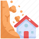 climate change, disaster, house, landslide, natural disaster, nature icon