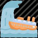climate change, natural disaster, ship, ship capsized, storm, tornado, tsunami icon