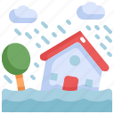 climate change, disaster, flood, house, natural disaster, rains, storm icon