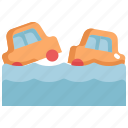 car, climate change, disaster, flood, flooded, natural disaster, nature icon