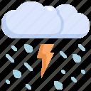 clodu, forecast, rain, storm, thunder, weather icon