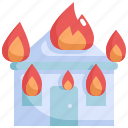 burh, climate change, disaster, fire, house, natural disaster, nature icon