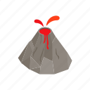 eruption, isometric, lava, mountain, natural, nature, volcano icon