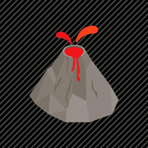eruption, isometric, lava, mountain, natural, nature, volcano icon