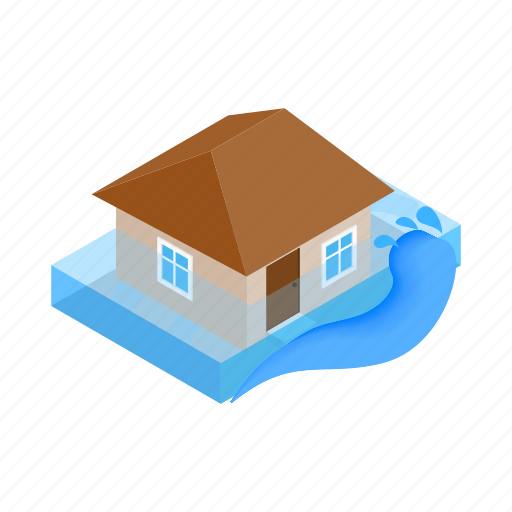 disaster, flood, home, house, insurance, isometric, water icon