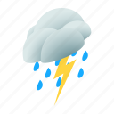 cloud, cloudscape, isometric, nature, sky, storm, weather icon