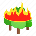 environment, fire, forest, isometric, nature, tree, wood