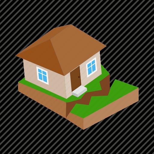 damage, destruction, disaster, earthquake, home, house, isometric icon