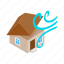 building, destruction, house, hurricane, isometric, storm, wind icon