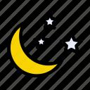 moon, sky, night, stars, nature